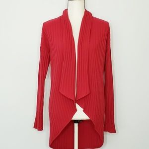 ST JOHN open front draped knit cashmere cardigan
